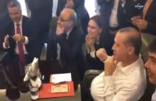 Cumhurbaşkanı Erdoğan'ın uçakta gol sevinci